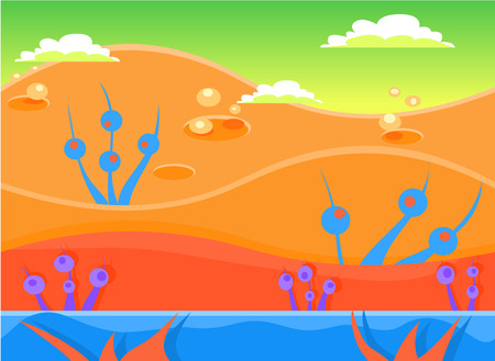 volcano mountain: Game background and imaginary landscapes in bright colors, illustration
