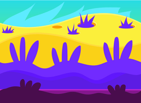 neon plant: Game background and imaginary landscapes in bright colors, illustration