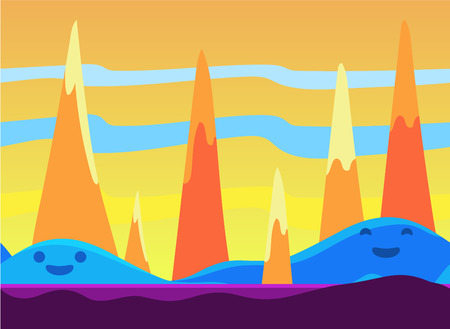 imaginary: Game background and imaginary landscapes in bright colors, illustration