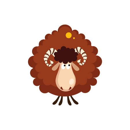catroon: Vector illustration of a borown sheep in flat style