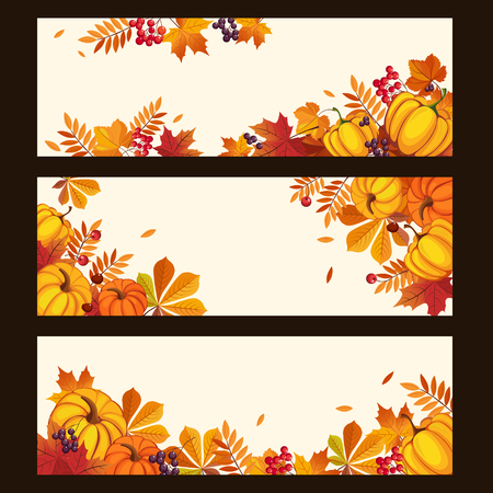 pumpkin border: Banners with autumn elements, leaves and pumpkins, colorful vector illustration