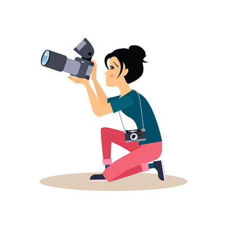 photographer: Young photographer girl sitting on a knee taking a photo, vector illustration in flat style.