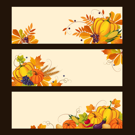 vine pear: Banners with autumn harvest elements, swirls, leaves, fruit and vegetables, colorful vector illustration Illustration