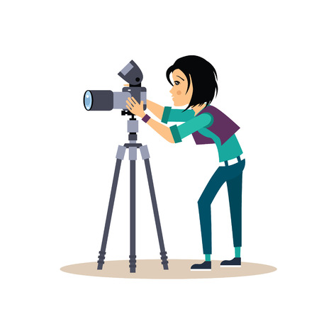 Cooler Vektor weibliche Fotograf mit einer Kamera und Stativ. Vector Illustration in flachen Stil.