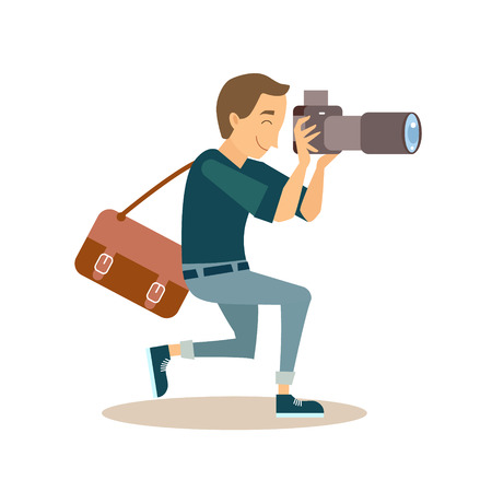 Cool vector photographer, taking a picture. Male character in flat style.