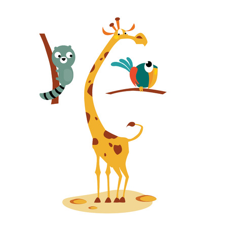 yellow character: Lemour, Giraffe and Bird. Set of tropical animals vector illustrations in flat style