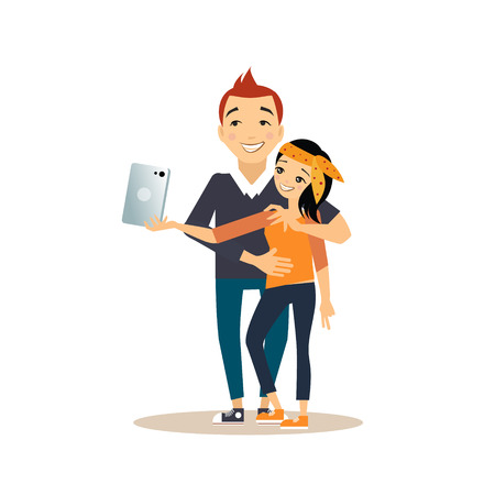 tab: Young girl and guy taking selfie with a tab. Vector illustration in flat style