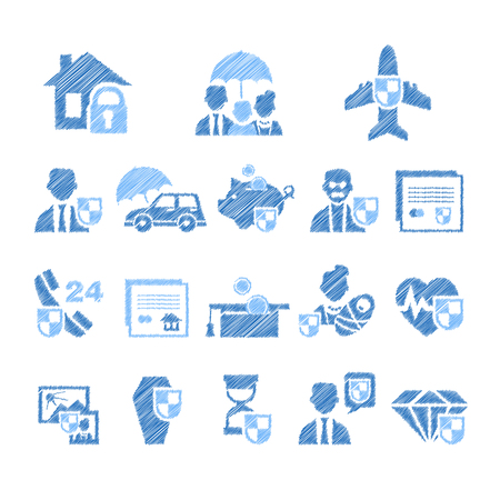 broken contract: Vector illustration set of insurance icons in handdrawn style