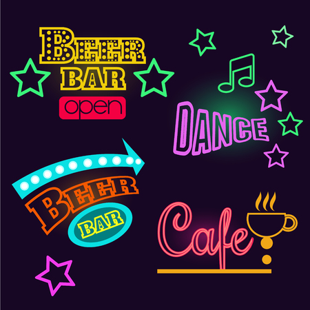 fluorescent lights: Set of glowing neon signs of dance, cafe and beer bar. Vector illustration set
