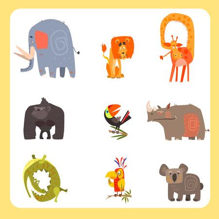 animales de la selva: Vector conjunto de animales y aves de Safari en el estilo plano