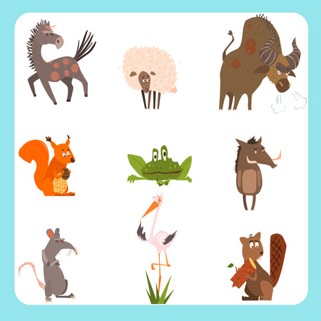 domestic animals: Set of forest and domestic animals in cartoon flat style Illustration