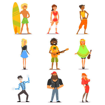 interests: Different Characters of people of various interests and lifestyles. Vector Illustration Collection in Flat Design
