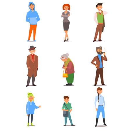 Different people of various ages, interests, lifestyles and professions. Vector Illustration Collection in Flat Design Ilustração