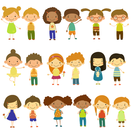 Set of vector kids of different lifestyles and cultures. Flat design. Vectores