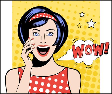 wow: Mujer en estilo del arte pop con WOW firmar. ilustración vectorial