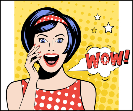 shocked: Woman in Pop Art style with WOW sign. vector illustration