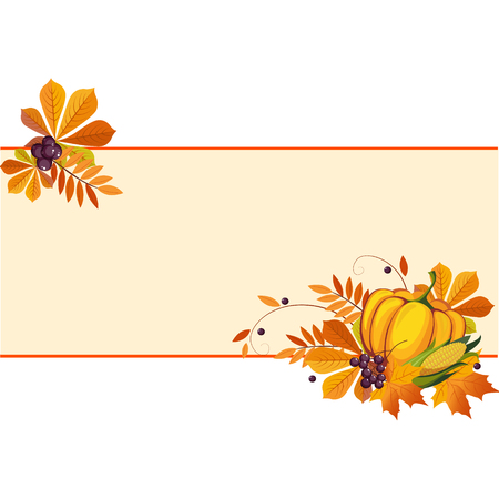 vine pear: Autumn, thanksgiving Banners with Ripe Vegetables, Swirls and Leaves, Vector Illustration
