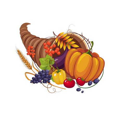 cuerno de la abundancia: Cuerno de la abundancia de verduras y frutas, tallos y hojas de otoño, ilustración vectorial