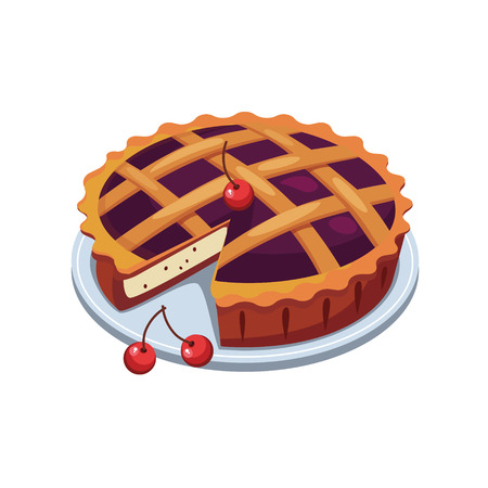 Cherry Pie and Slice, appetizing. Vector Illustration