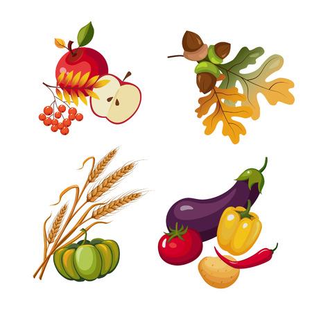 stalks: Vegetables and Fruits, Stalks and Autumn Leaves, Vector Illustration Illustration