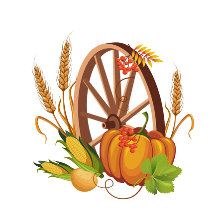 stalk: Wheel with Vegetables and Stalks Vector Illustrations