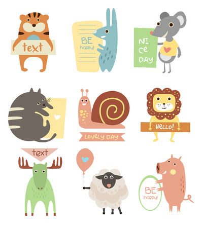 Cute Animals with Ribbons and Boards for Text. Vector Flat Illustration Set