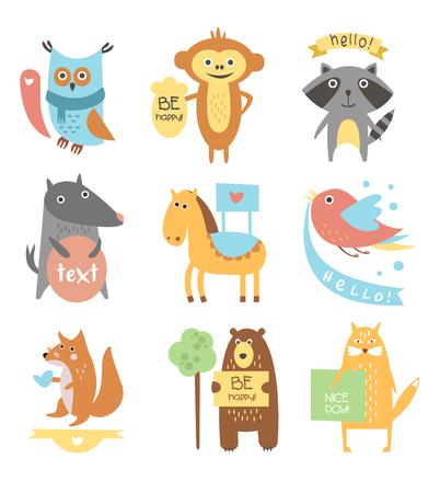monas: Los animales y los pájaros lindos con Cintas y juntas para el texto. Vector Flat Set Ilustración