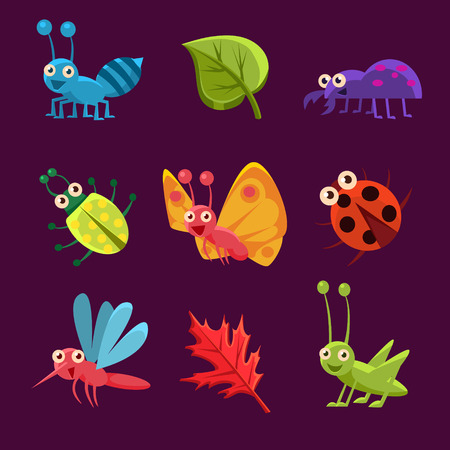 insect on leaf: Cute Emotional Insects and Leaves. Vector Illustration Set