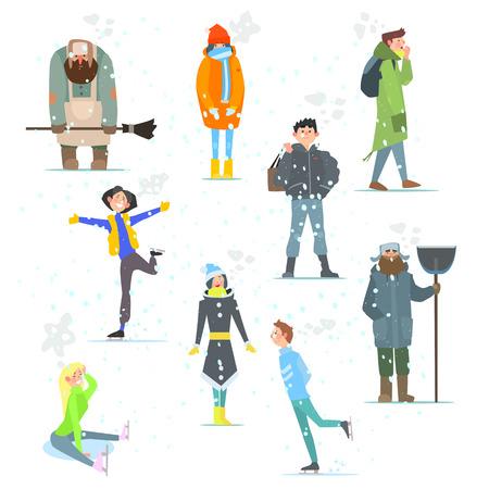 juventud: La gente en la ilustración de invierno Actividades de invierno conjunto de vectores
