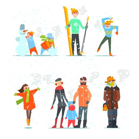 Menschen im Winter und Winteraktivitäten. Vektor-Illustration Set.