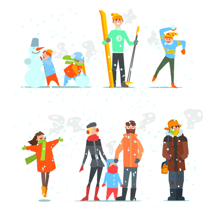 People in Winter and Winter Activities. Vector Illustration Set.