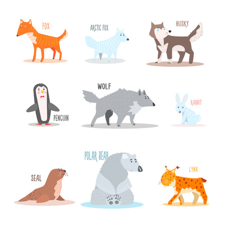 cartoon hare: Arctic and Antarctic Animals and Penguin. Flat Vector Illustration