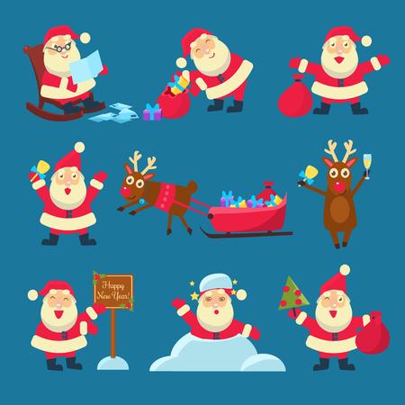 venado: Santa y ciervos. Navidad y Año Nuevo Vector Set Ilustración