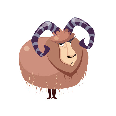 serious: Wool Goat with big Horns. Vector Illustration Illustration