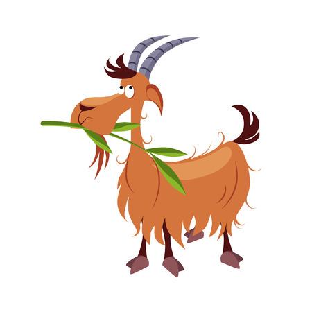 Goat Chewing Branch. Cartoon Vector Illustration Farm animals