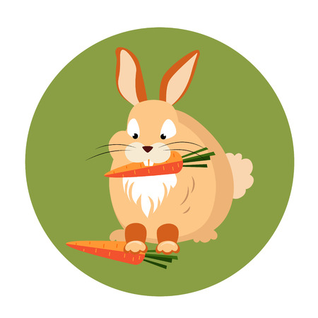catoon: Cute Rabbit Eating a Carrot Vector Illustration
