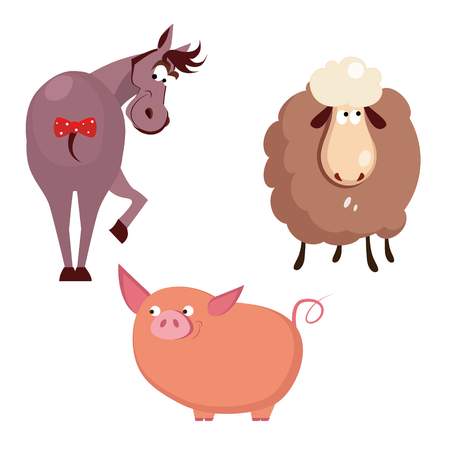 small group of object: Donkey, Pig and Sheep. Farm Animals Vector Illustration
