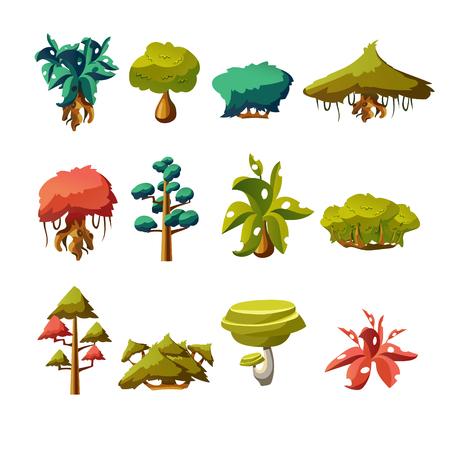 Cartoon natuurelementen, vector objecten op witte achtergrond