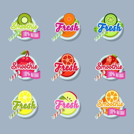 Set sticers smoothie with ribbon and freshes vector
