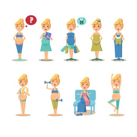 breast comic: Pregnancy cartoon funny drawings vector illustration modern style Illustration