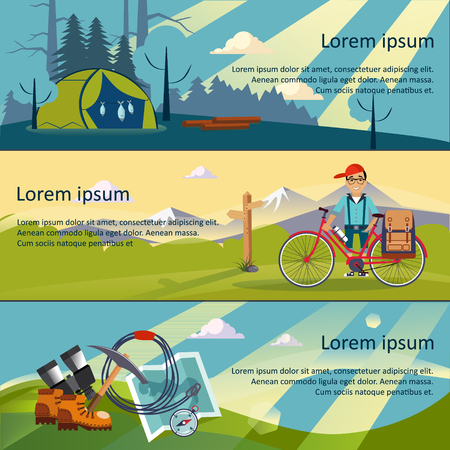 mountaineering: Colorful vector flat banner set. Quality design illustrations, elements and concept. The history of mountaineering. Unforgettable adventure. Hiking trail. Illustration