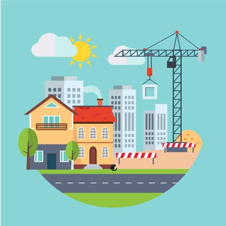 live work city: Flat design vector building construction and urban landscape  Real estate concept illustration.