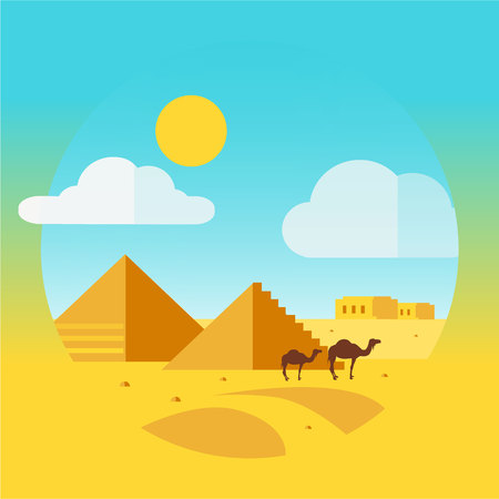 humped: Flat Design Landscape with Camel and Egyptian pyramids vector
