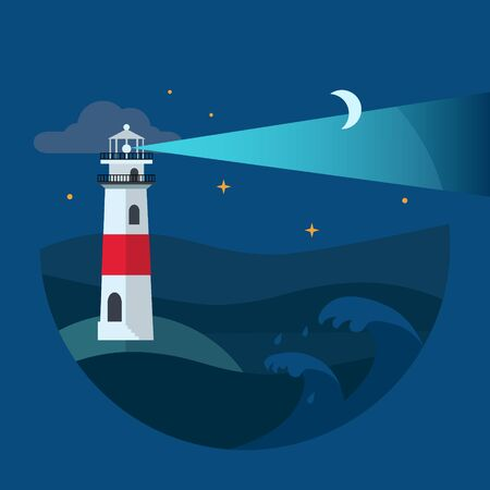 marge: Lighthouse in night sea. Flat Vector illustration.