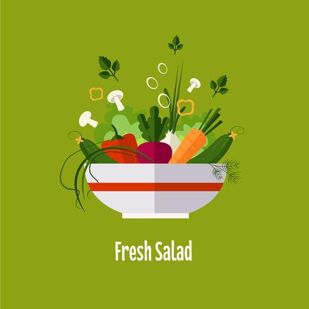 Vegetable salad, healthy food, diet flat style vector