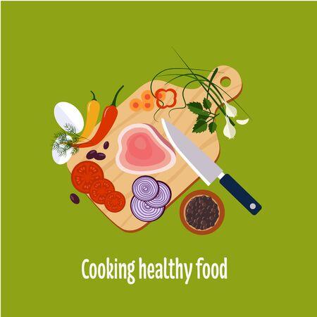 cebolla: Preparación de alimentos cuchillo, carne, ilustraciones planas cebolla y especias Vectores