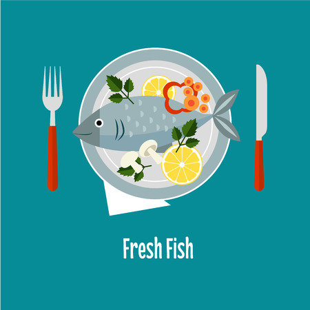 cooked: Cooked fish and raw vegetables on a plate vector