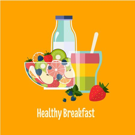 boiled: Healthy Breakfast Breakfast concepts French Breakfast and Nutritious Breakfast vector illustration