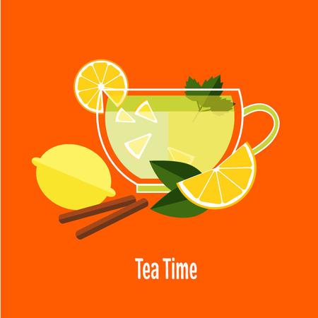 camomile tea: Cup of tea with lemon vector illustration