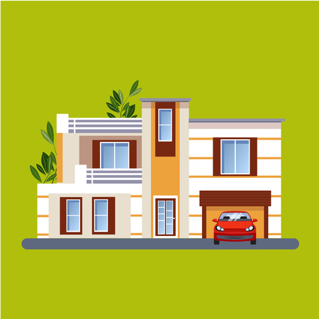residential: Colorful Flat style Residential Houses vector illustration